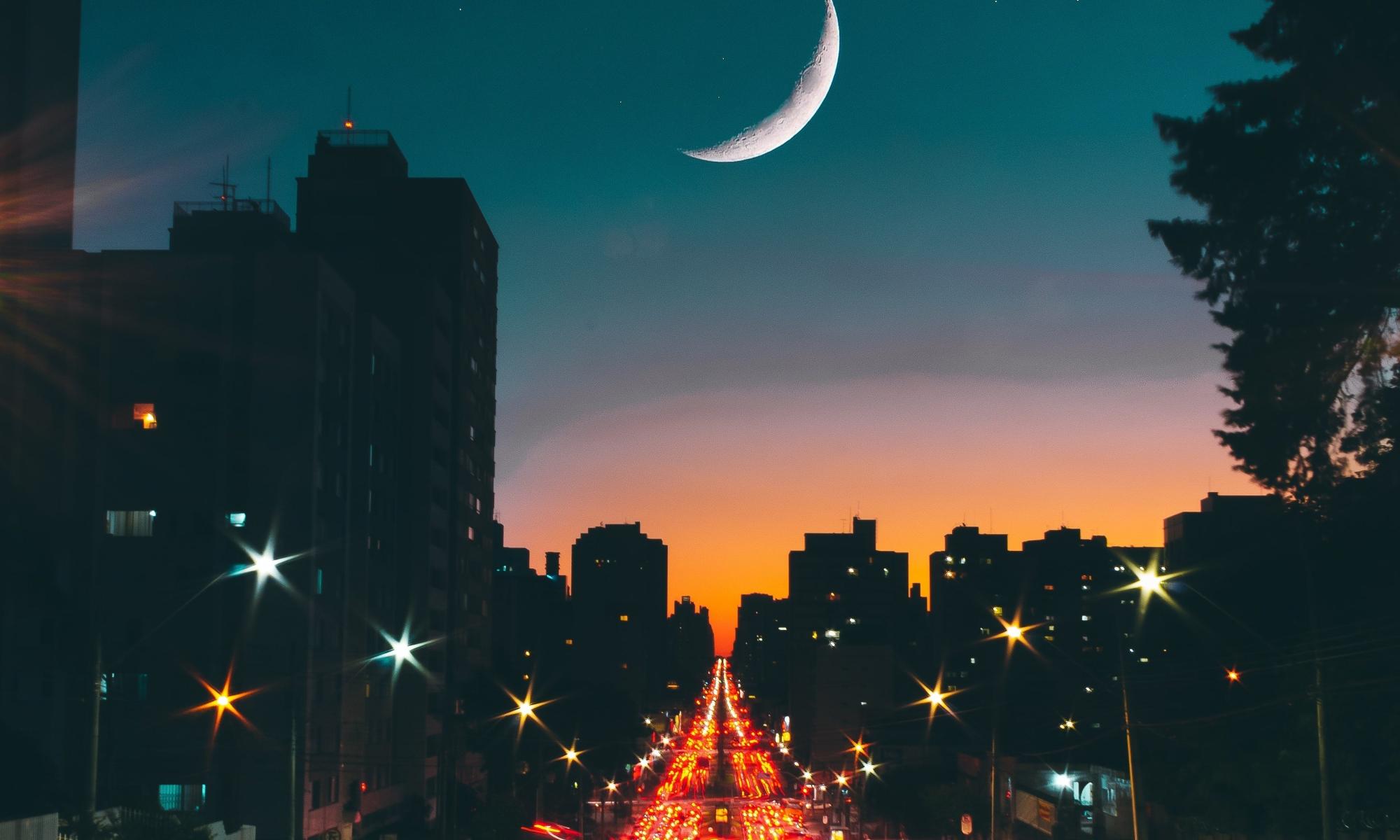 A city road sunset