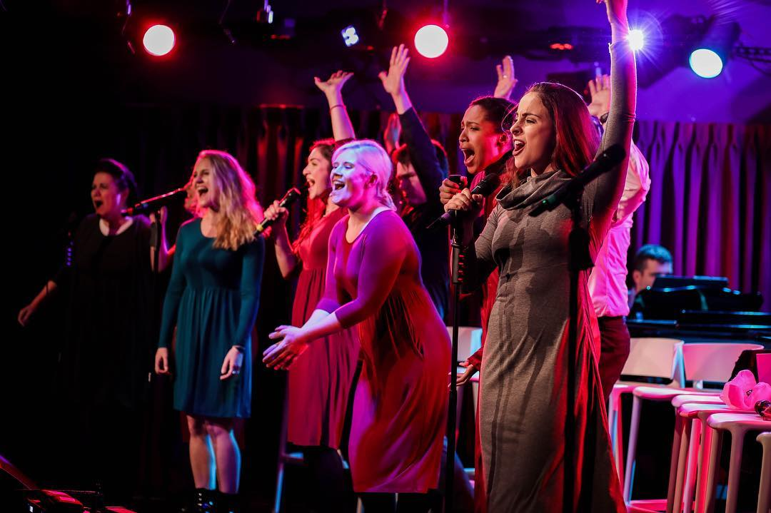 The Handmaid's Musical actors on stage