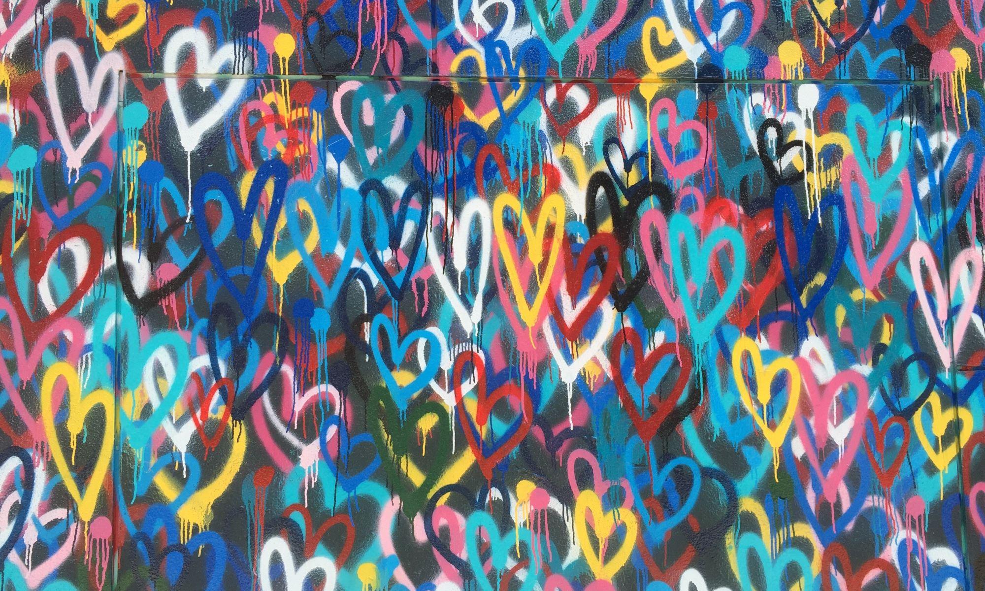 Grafitti of colorful hearts